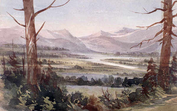 Kootenay_Flats_Watercolour___Warre_1845