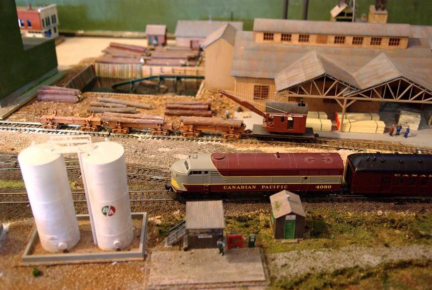 Sawmill, Tanks, and Log Cars