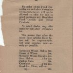 Newspaper ad from the Creston Mercantile general store, 26 October 1917, advising that certain products would no longer be available by order of the Food Controller.