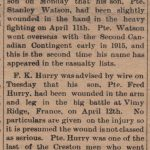 Newspaper report regarding Stanley Watson and Fred Hurry being wounded at Vimy Ridge. Creston Review, 27 April 1917