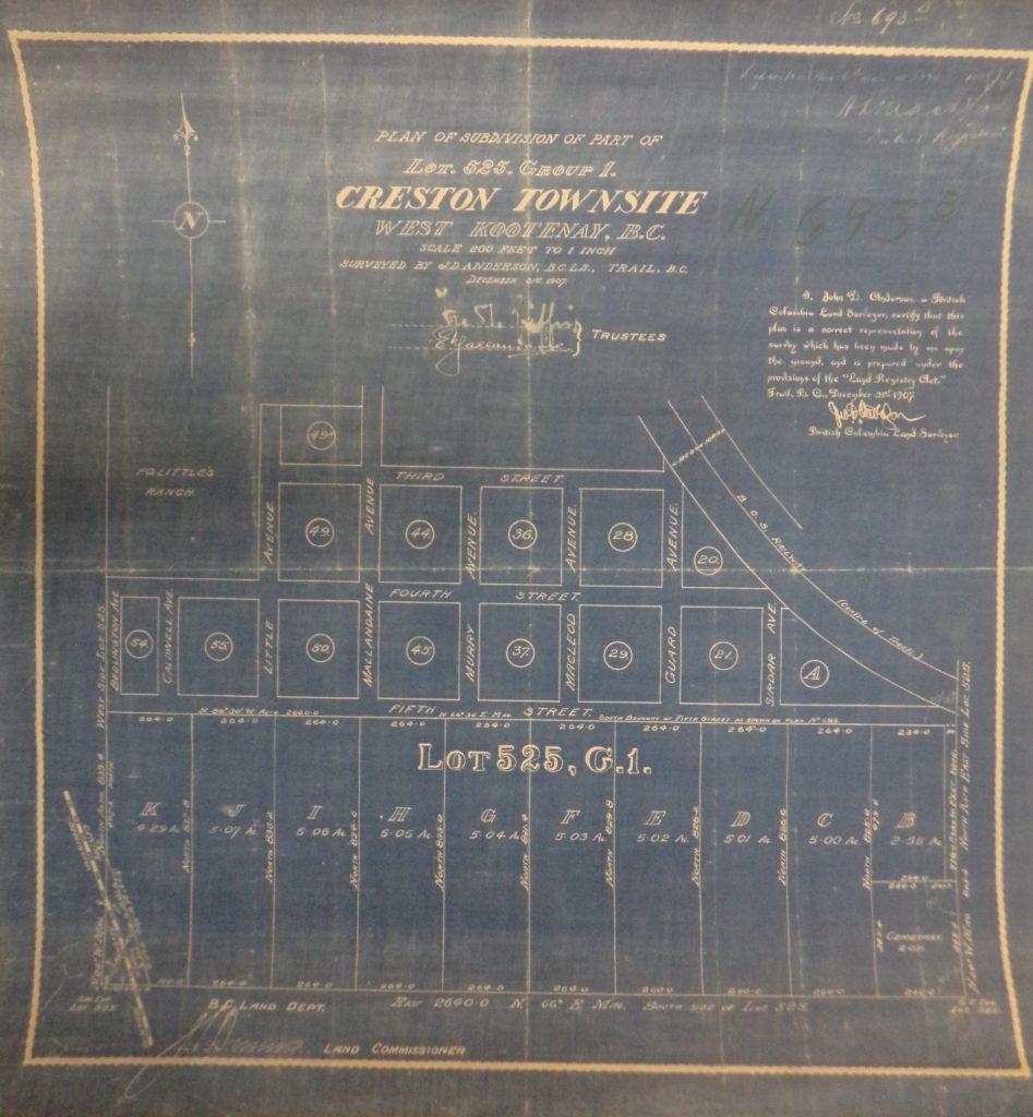 Townsite Map of Creston BC, 1907