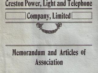 Creston Power Light and Telephone, Creston BC