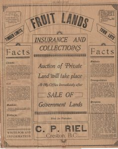 Land sales, Creston BC, 1908
