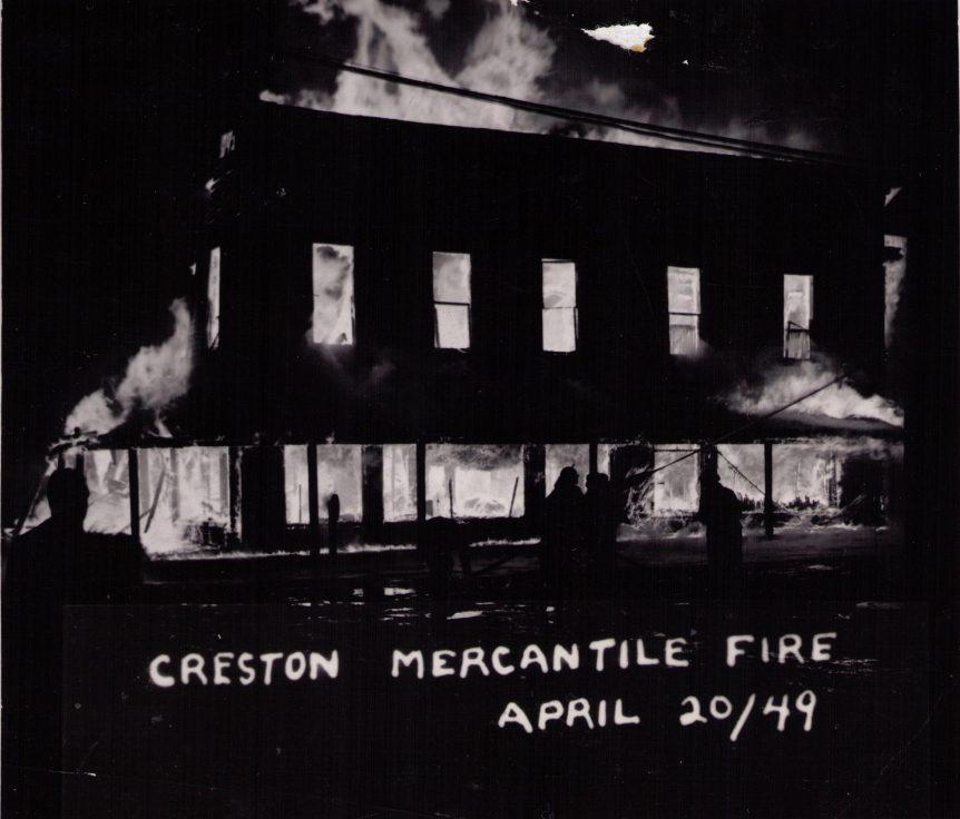 Creston Mercantile Fire, 1949, Creston BC
