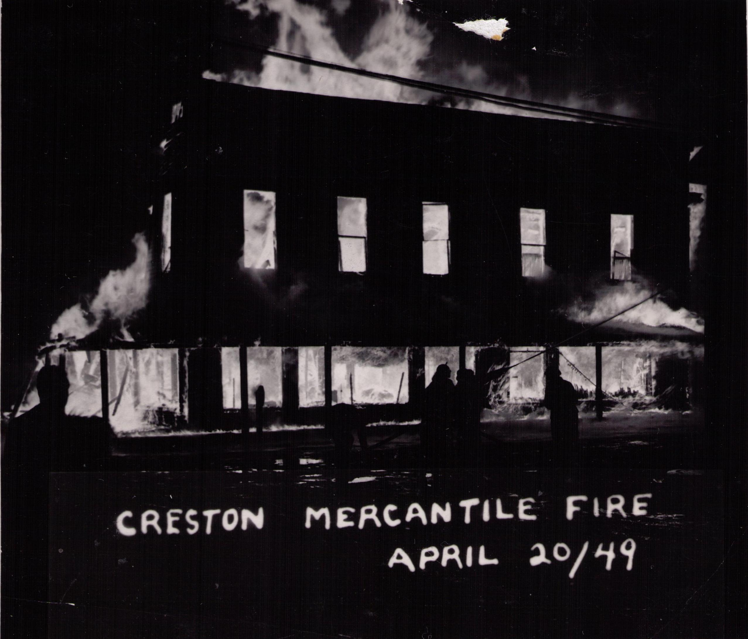 Creston Mercantile Fire, 1949, Creston BC