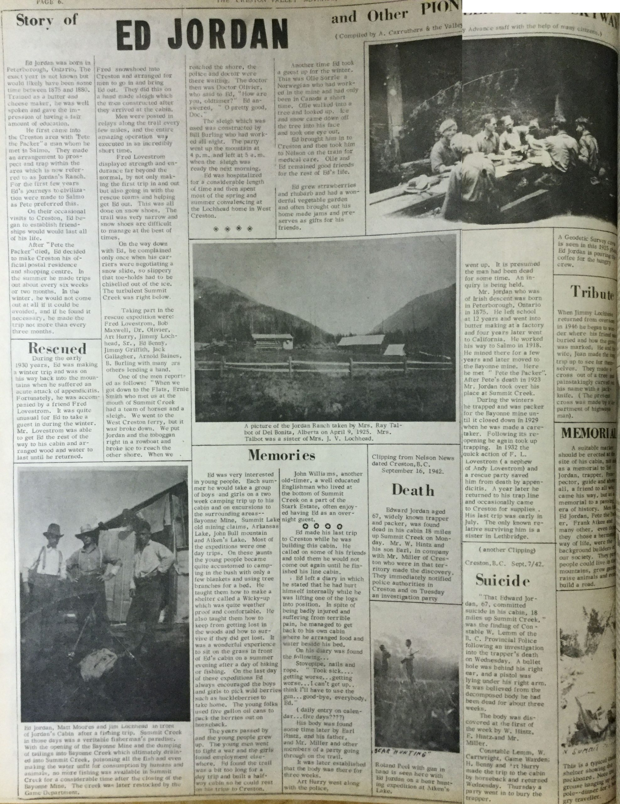 """Ed Jordan and other Pioneers of the Skyway"" Creston Valley Advance, 13 August 1964"