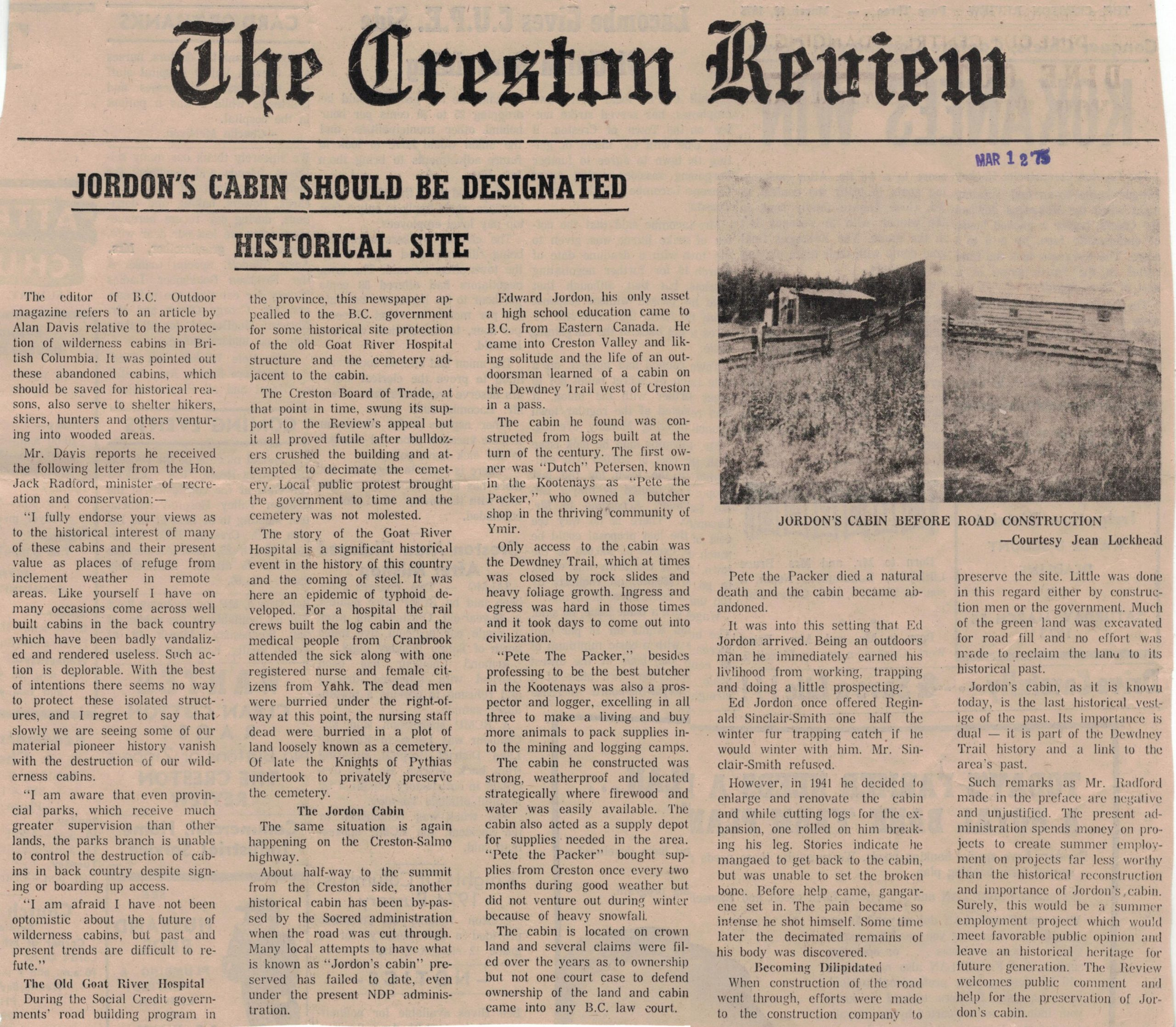 Creston Review, 12 March 1975