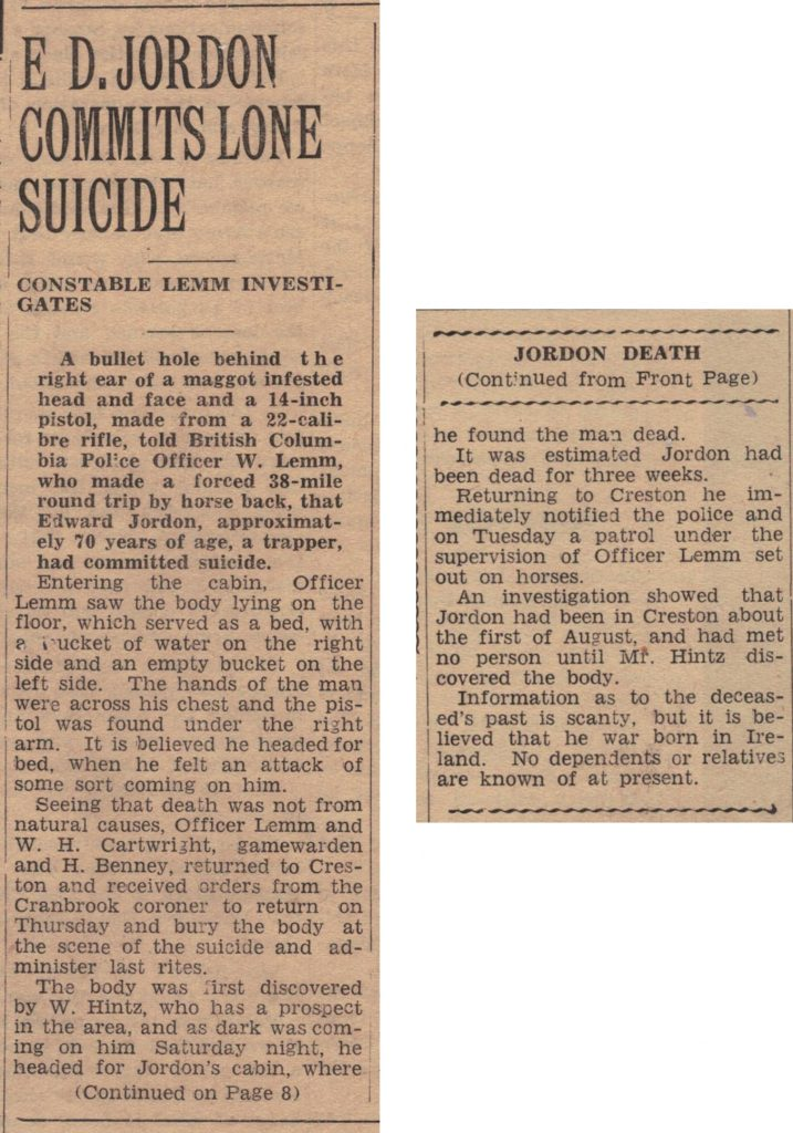 Announcement of Ed Jordan's death, Creston Review 18 September 1942
